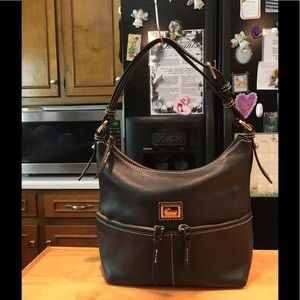 D&B Kelsey Black Pebbled Leather Hobo Bag